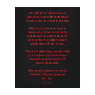 Ezekial 25:17 Black and Red Canvas Print