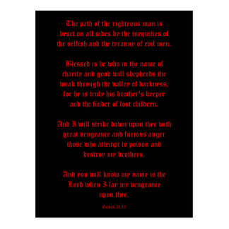 Ezekial 25:17 Black and Red Postcard