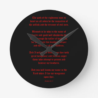 Ezekial 25:17 Black and Red Round Clock