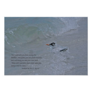 Ezekial 36:24.25 with Tern in the Surf Print