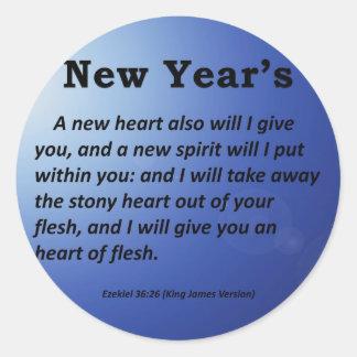 Ezekiel 36-26 del Año Nuevo Pegatina Redonda