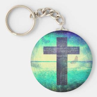 Ezekiel 36:26 Inspirational Bible Verse Basic Round Button Keychain
