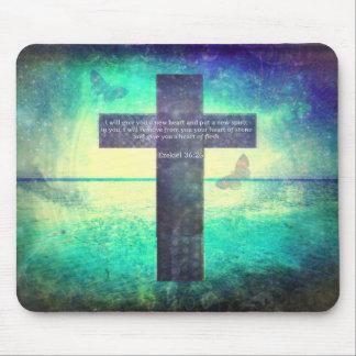 Ezekiel 36:26 Inspirational Bible Verse Mouse Pad