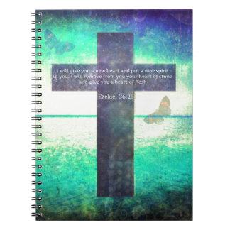 Ezekiel 36:26 Inspirational Bible Verse Spiral Note Books
