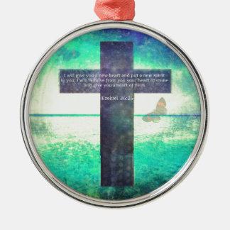 Ezekiel 36 26 Inspirational Bible Verse Christmas Ornaments