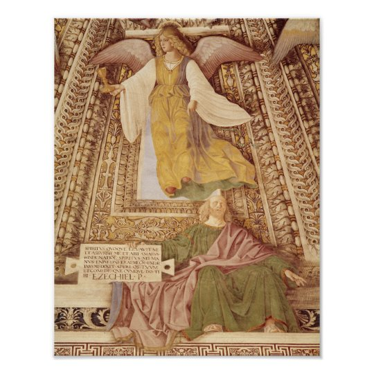 Ezekiel and Angel holding chalice of the Poster