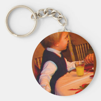 Ezra 3 yr prays grace at Christmas--watercolor sat Keychain