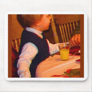 Ezra 3 yr prays grace at Christmas--watercolor sat Mouse Pad
