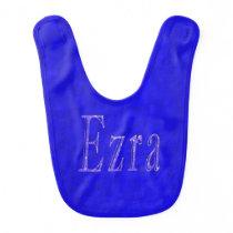 Ezra, Name, Logo, Blue Baby Bib. Baby Bib