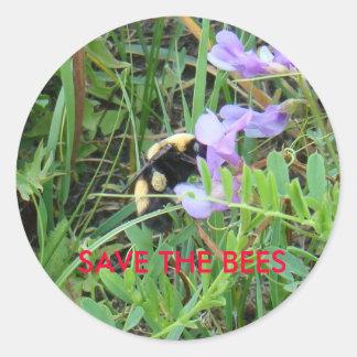 F0002 Bee on purple Wildflower Round Sticker