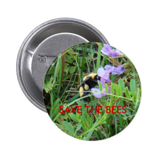 F0002 Bee on Purple Wildflowers 2 Inch Round Button