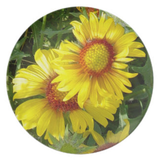 F0027 Yellow Wildflowers Party Plate