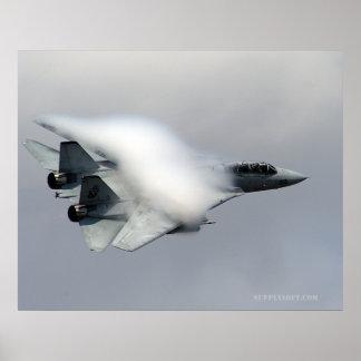 F14 en paso de alta velocidad póster