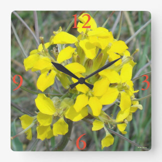 F14 Yellow Wildflowers Square Wall Clock