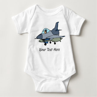 F16 Falcon And Pilot Cartoon Design Baby Bodysuit
