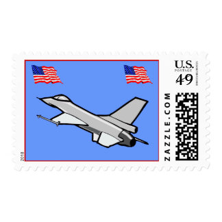 F16 Falcon Fighter Jet With American Flags Postage Stamp