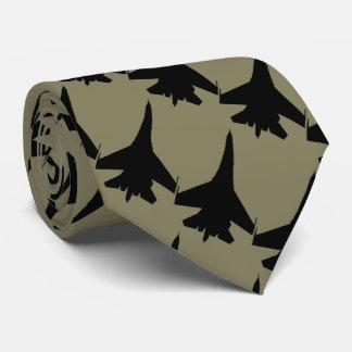 F16 fighter khaki backround tie