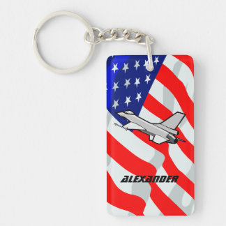 F16 Fighting Falcon Fighter Jet American Flag Keychain