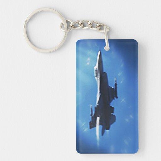 F16 Fighting Falcon Fighter Jet In Flight Acrylic Key Chain