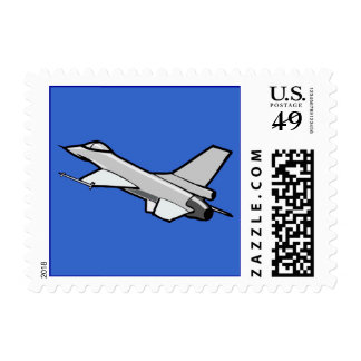 F16 Fighting Falcon Fighter Jet In Flight Postage Stamp
