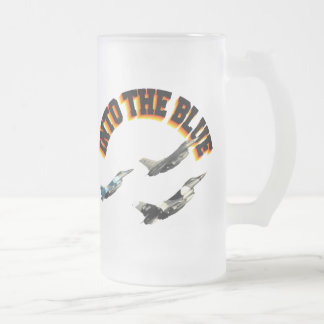 F16s INTO THE BLUE Frosted Glass Beer Mug