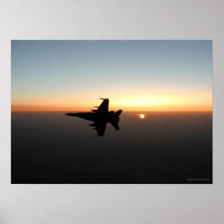 F18 Hornet at Sunset Poster