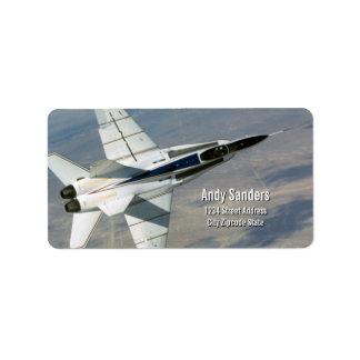 F18 Hornet Jet Fighter Personal Address Label