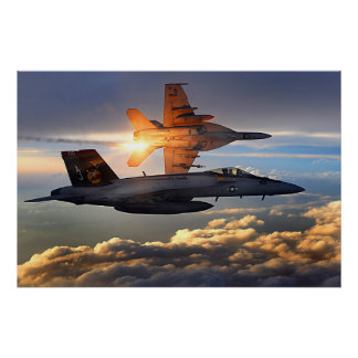 F18 que lanza llamaradas póster