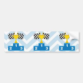 F1 Car Racing Flags Trophy and Ranking on Chevron Car Bumper Sticker