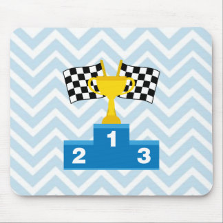 F1 Car Racing Flags Trophy and Ranking on Chevron Mouse Pad