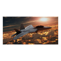 fighter, jet, f22, stealth, raptor, burner, military, technology, flame, airplane, sky, afterburner, force, supersonic, air, aerodynamic, armed, army, cloud, conflict, fly, flying, airforce, nato, navy, plane, security, speed, turbine, war, warfare, wing, power, sunset, Cartaz/impressão com design gráfico personalizado