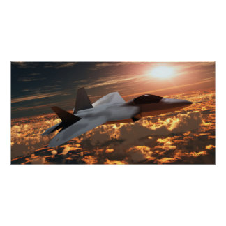 F22 Fighter Jet at Sunset Print