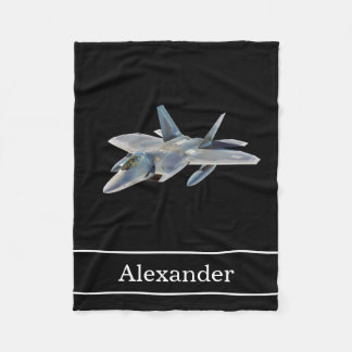F22 Raptor Fighter Jet with Name Fleece Blanket