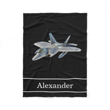 RewStudio F22 Raptor Fighter Jet with Name Fleece Blanket