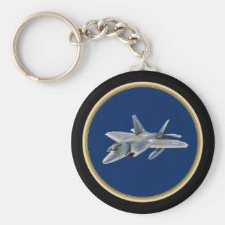 F22 Raptor on Dark Blue Basic Round Button Keychain