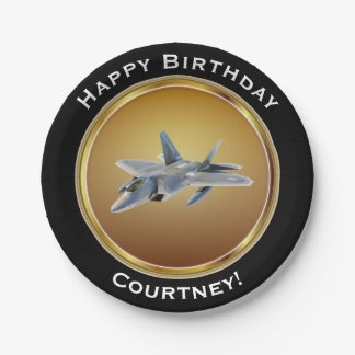 F22 Raptor on Faux Gold Happy Birthday with Name Paper Plate