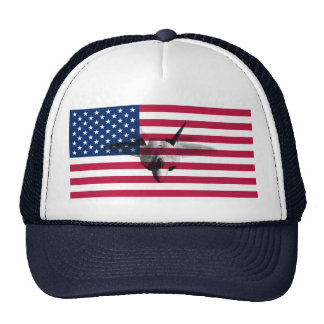 F22A RWS gate Flag_of_the_United_States Trucker Hat