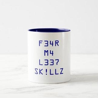 F34R M4 L337 SK!LLZ Two-Tone COFFEE MUG