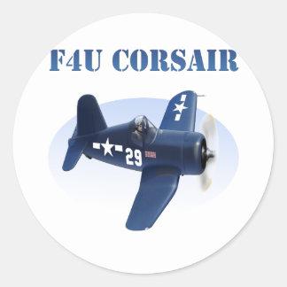 F4U Corsair Plane #29 Classic Round Sticker