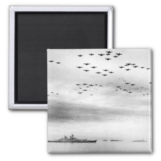 F4U's F6F's fly in formation during_War Image 2 Inch Square Magnet