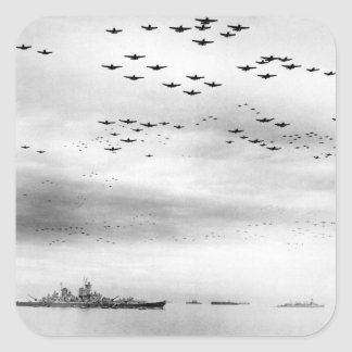 F4U's F6F's fly in formation during_War Image Square Sticker