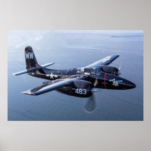 "F7F Tigercat 'mún gatito"" sobre Puget Sound Póster"