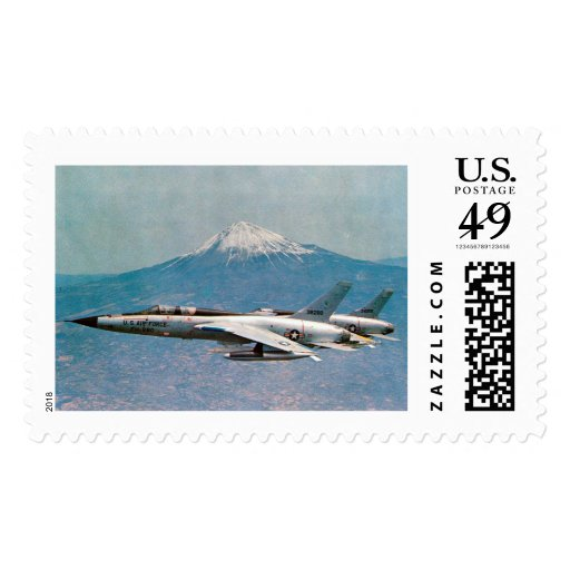 F-105 Thunderchiefs passing Mt. Fuji Postage Stamps