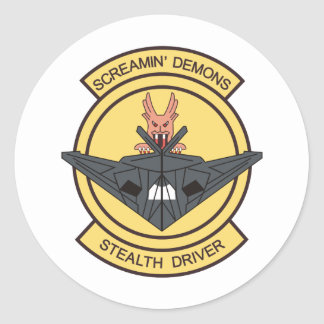 F-117 screaming demons stealth driver round stickers