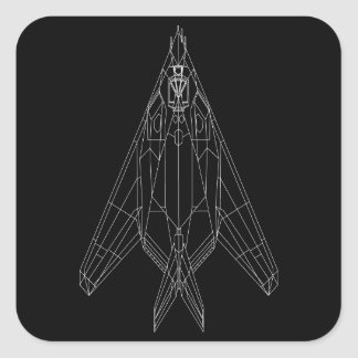 F-117 Square Sticker Black