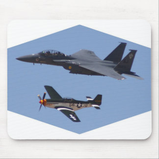 F-15 and P-51 Flight Formation Mouse Pad