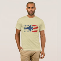 F-15 Eagle Fighter Jet Red Blue Stars and Stripes T-Shirt