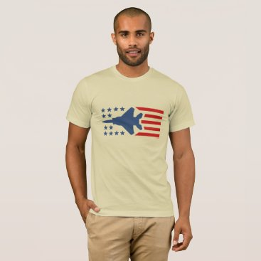 USA Themed F-15 Eagle Fighter Jet Red Blue Stars and Stripes T-Shirt