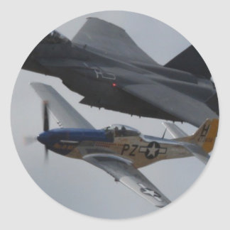 F-15 EAGLE + P-51 MUSTANG FORMATION CLASSIC ROUND STICKER