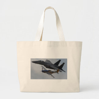 F-15 EAGLE + P-51 MUSTANG FORMATION LARGE TOTE BAG